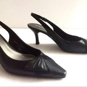 "Liz Claiborne Black Leather Sling Back 3"" Heel $10"